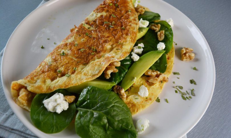 Power omelet met spinazie