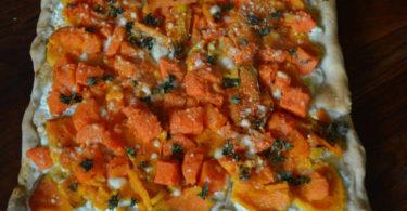 Recept plattaart met zoete aardappel en pompoen