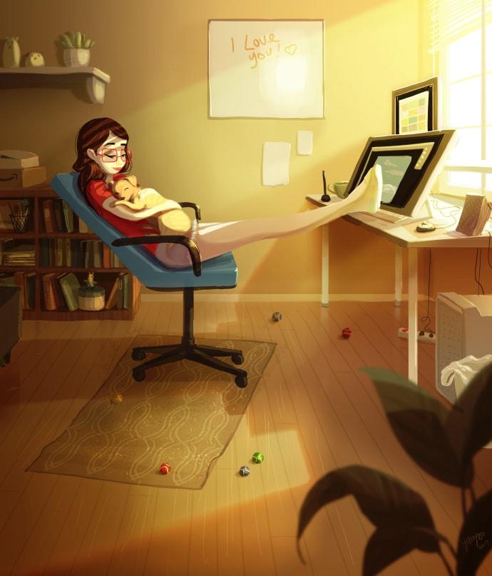 YaoyaoMVA FavoriteWayToWork - Woon je ook alleen? Dan herken jij jezelf vast in deze prachtige tekeningen
