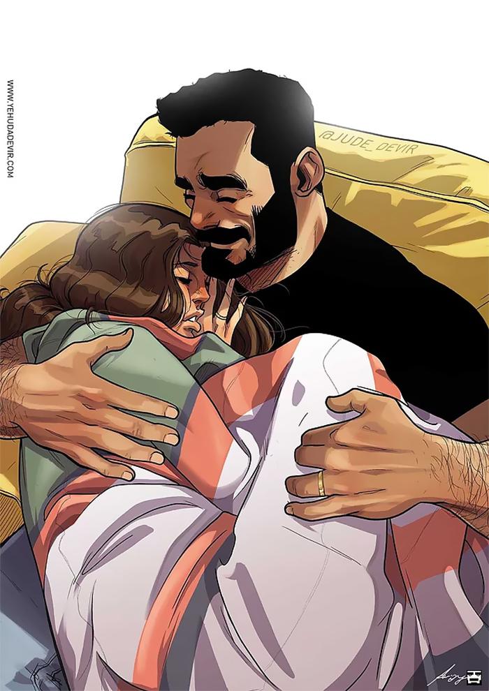 relationship drawings yehuda devir 19 59ed9c67a566b  700 - Prachtige tekeningen van het dagelijkse leven van een artiest en zijn vrouw